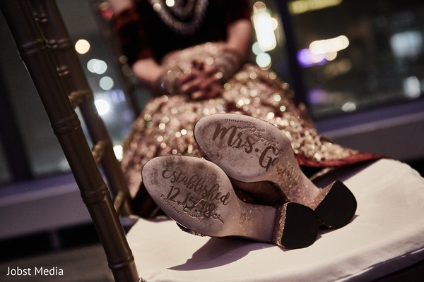See this indian bridal personalized reception shoes.