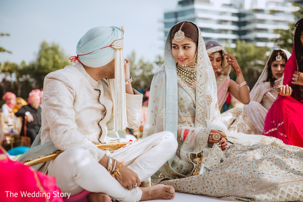 Lovely Indian couple at wedding ceremony.