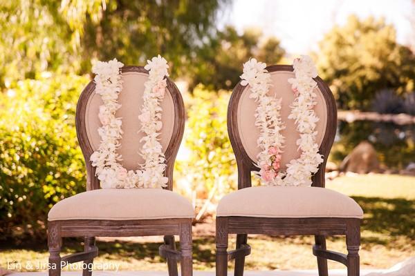 Closeup capture of ceremony garlands.