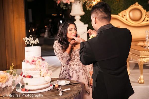 Charming cake cutting.