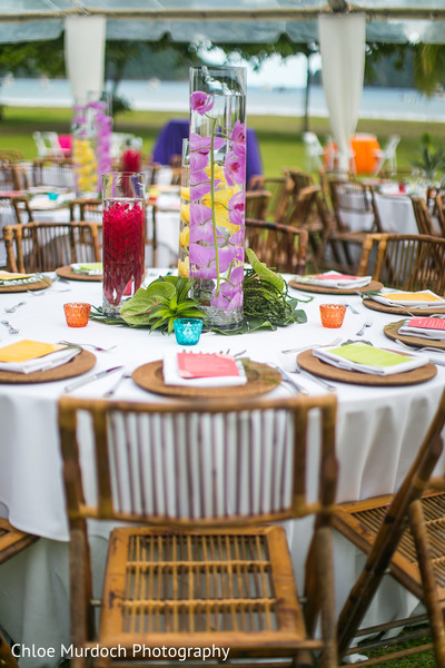 Colorful Sangeet table decorations.