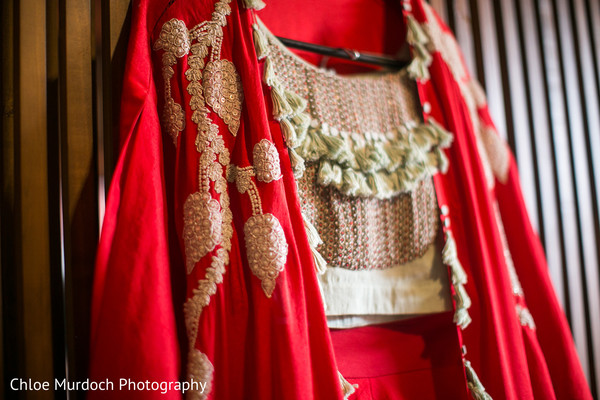 Closeup capture of Indian bridal pre-wedding dress.