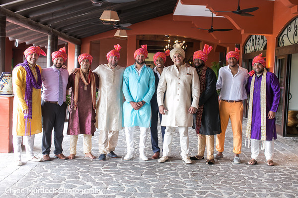 Elegant Indian groom and groomsmen photo.