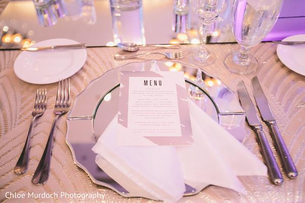Elegant indian wedding dinner menu.