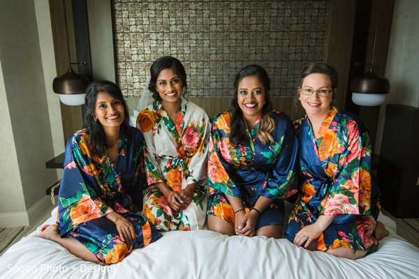 Sweet Indian bridal party getting ready.