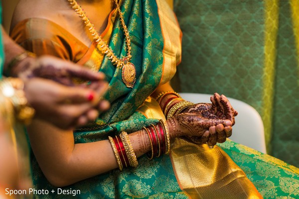 South Indian bride pre-wedding ritual