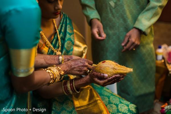 South Indian bride wedding ritual.