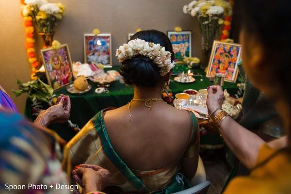 South Indian bride pre-ceremony ritual.