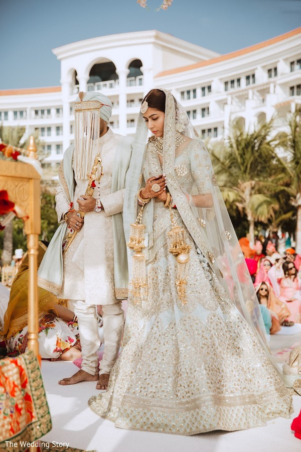 Enchanting Indian couple at wedding ceremony.
