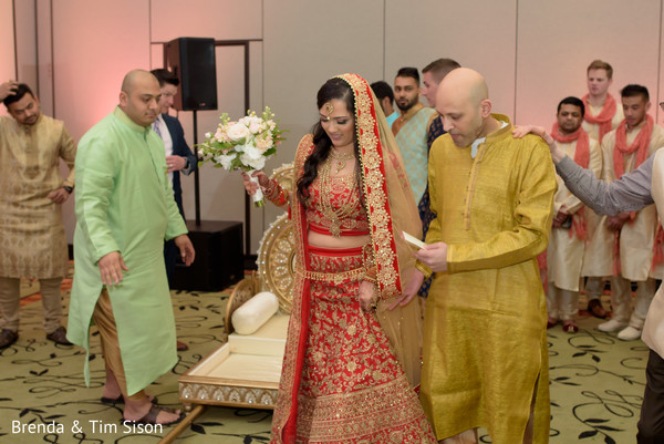 Lovely Indian bride entering to her ceremony.