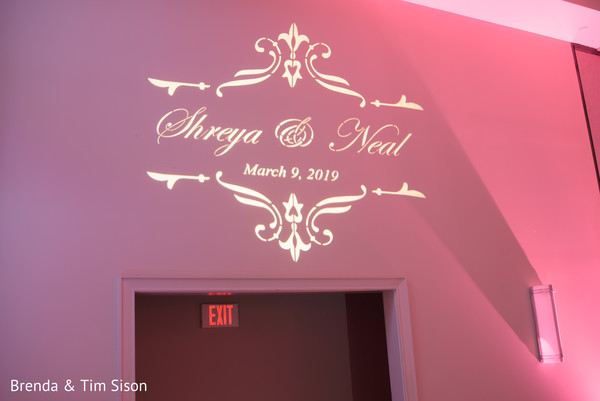 Personalized Indian wedding reception lights.