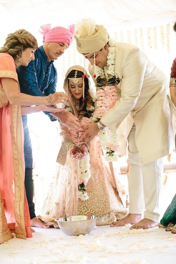 Indian couple at traditional Indian wedding ritual.