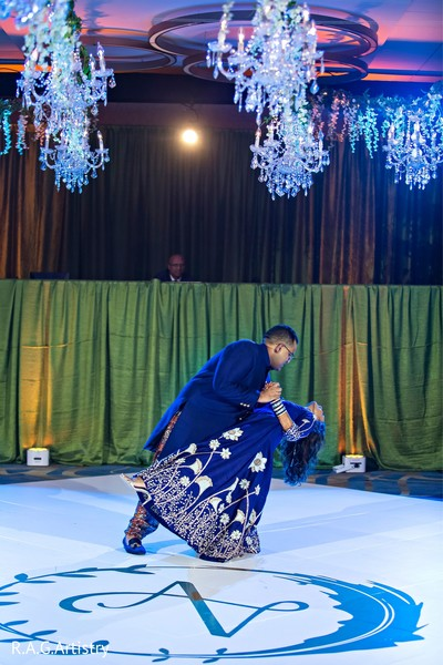 Indian bride and groom on the dance floor