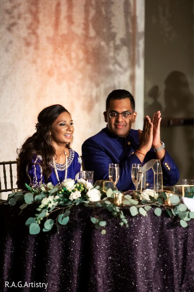 Couple during speeches