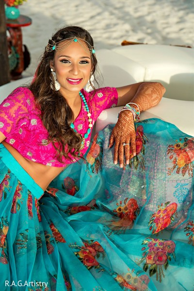 Gorgeous Indian bride posing for pictures