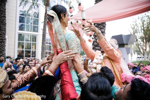 Indian couple at their Varmala ritual.