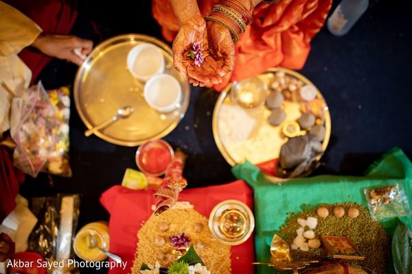 Closeup capture of Indian pre-wedding ritual items.