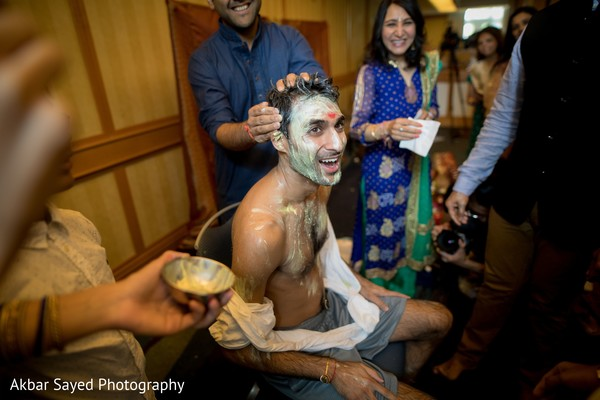 Indian groom's capture at his pre-wedding ritual.
