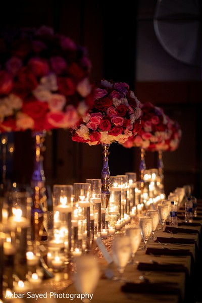 Marvelous Indian wedding flowers and candle decoration.