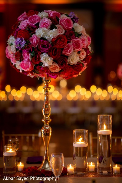 Marvelous Indian wedding reception table centerpiece.