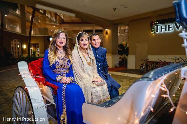 Indian bride with her parents