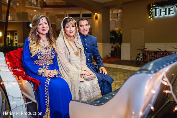 Indian bride with her family