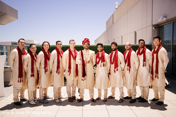 Marvelous Indian groom and groomsmen ceremony outfits.