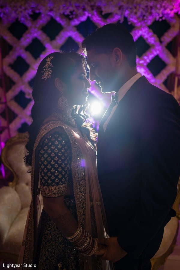 Dreamy Indian couple silhouette capture.