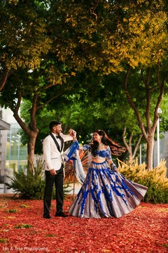 Dreamy Indian couple's outdoors capture.