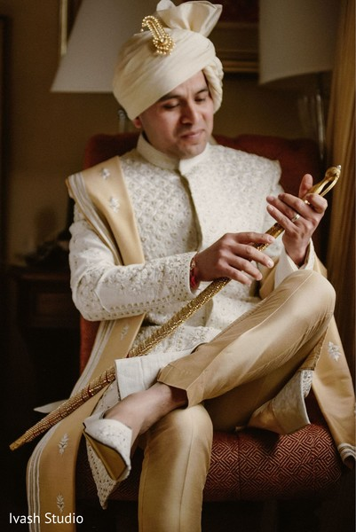 Striking Indian groom look.