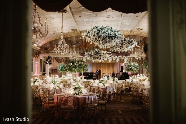 Dreamy Indian wedding reception floral and decor.