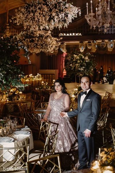 Elegant Indian wedding couple.
