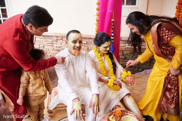 Lovely Indian bride and groom at Haldi.