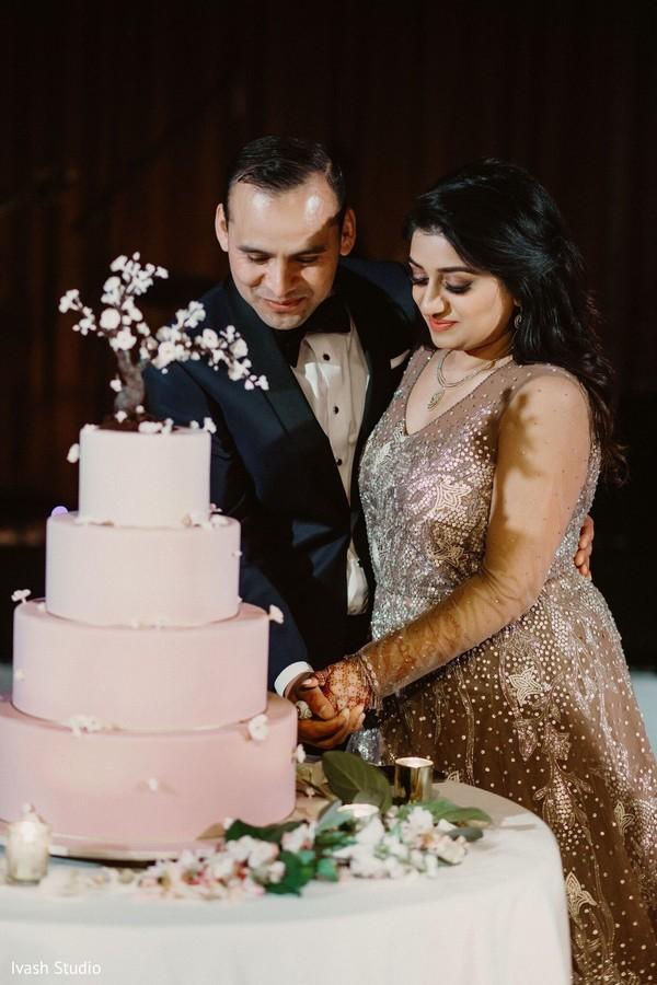 Indian newlyweds cutting the cake scene