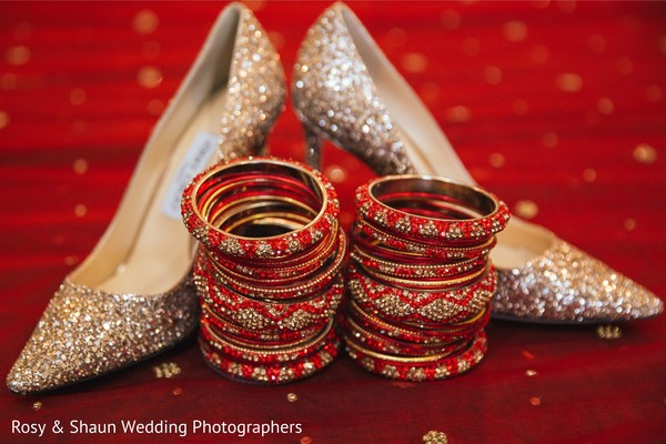 Indian bridal shoes and bangles.