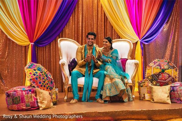Fabulous Indian couple sangeet fashion.