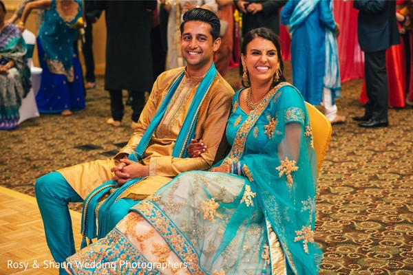 Indian couple at their sangeet event