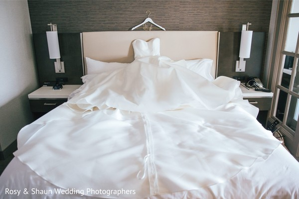 Majestic white wedding dress.