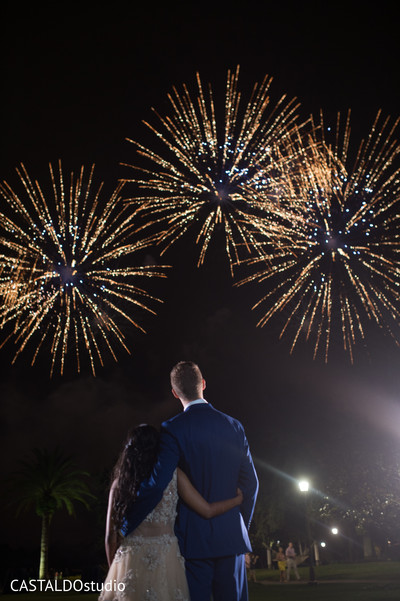 Indian couple looking at the fireworks