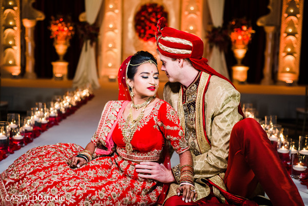 Maharani and groom posing for pictures
