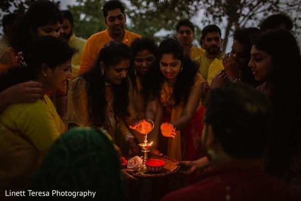 Capture of lighting the sacred fire at haldi ritual.