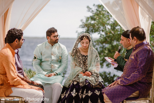 Lovely bride and groom at Indian muslim ceremony.