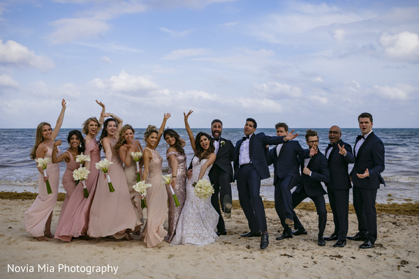 Glamorous beach side wedding photo shoot