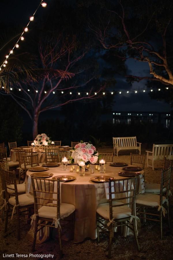 Romantic Indian wedding reception decor.