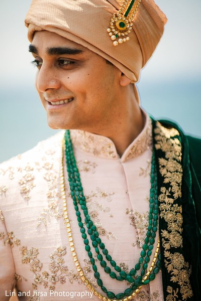 Charming indian groom's portrait.