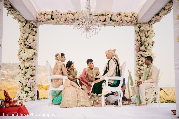 Outdoors indian wedding ceremony rituals.