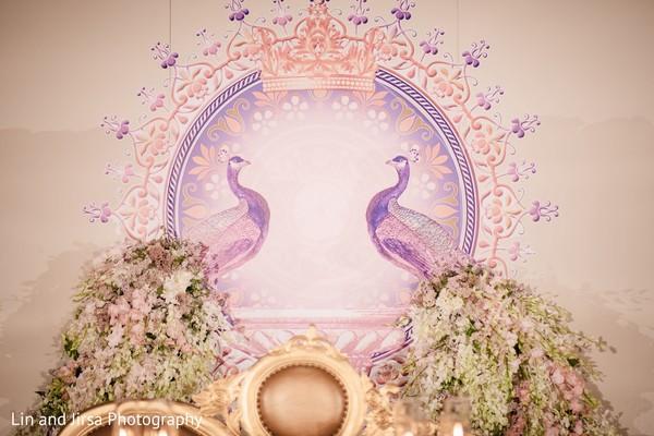 Unique Indian wedding reception stage decor.