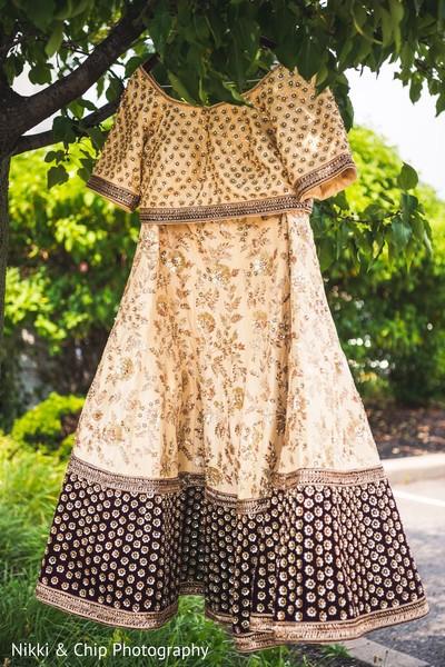 Indian bridal ceremony lehenga outfit.