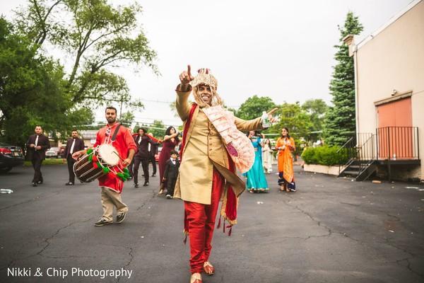 Elegant Indian groom at his baraat procession.