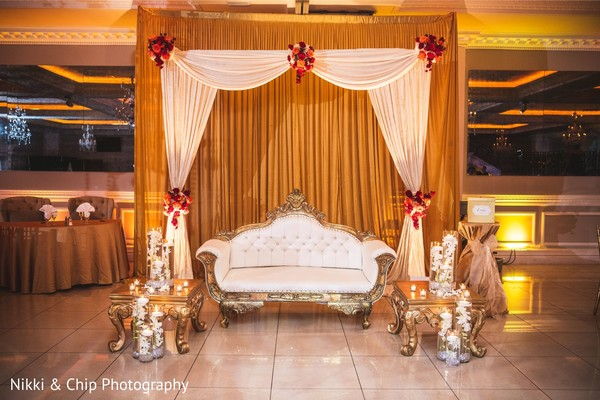 Creative indian wedding reception stage decor.